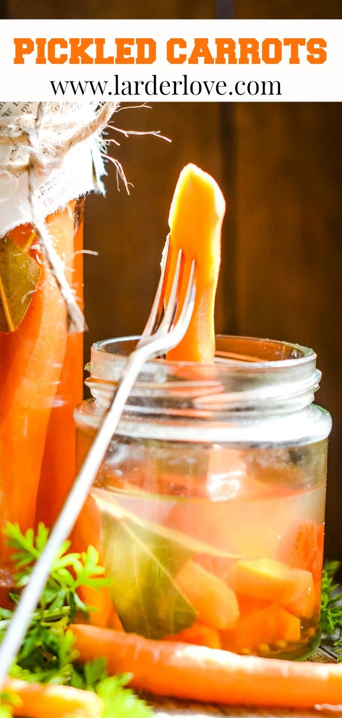quick and easy spicy pickled carrots pin image