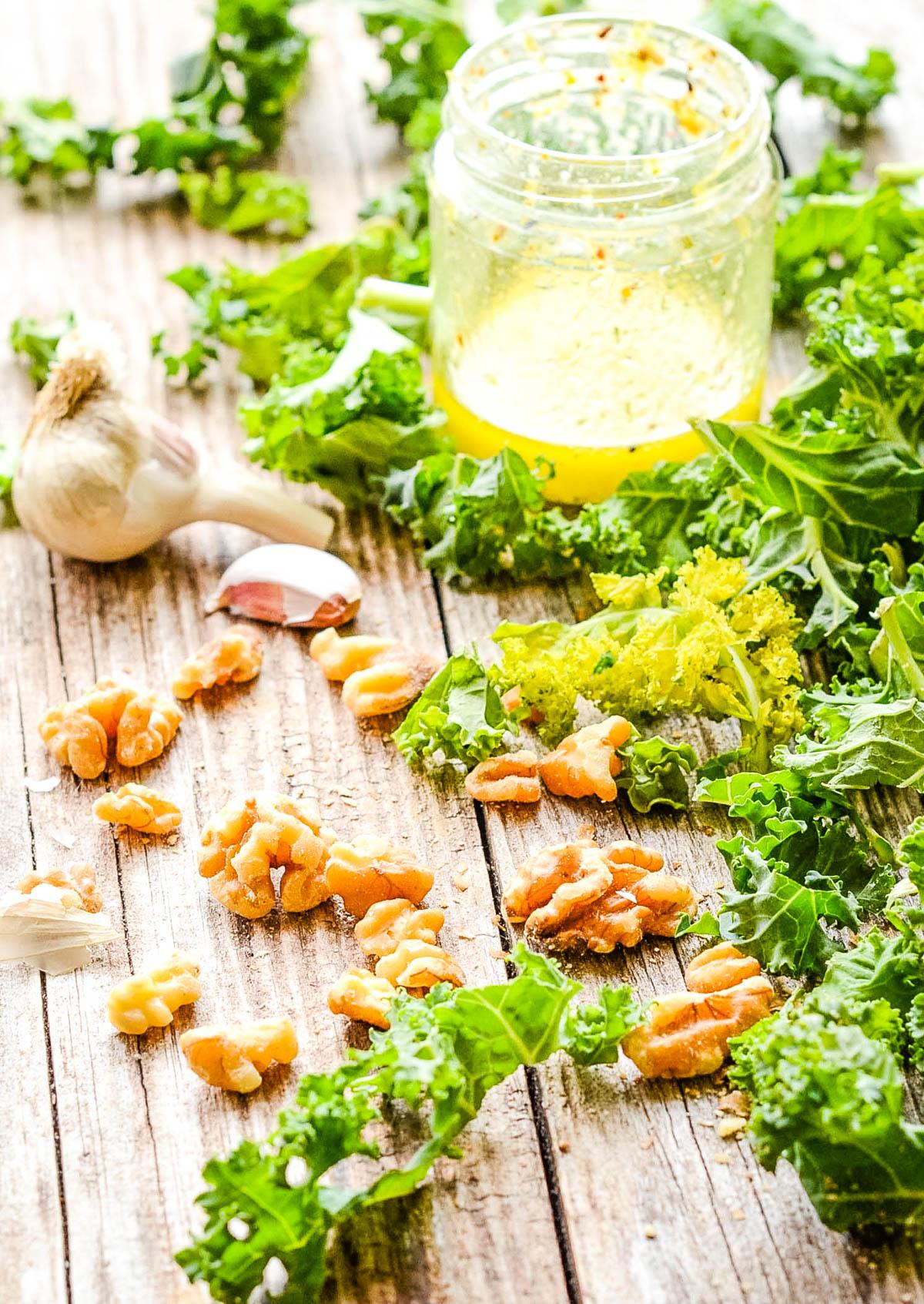 ingredients, kale, garlic, walnuts salad dressing
