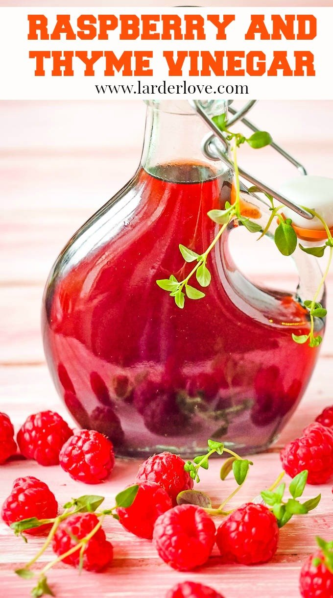 raspberry and thyme vinegar pin image