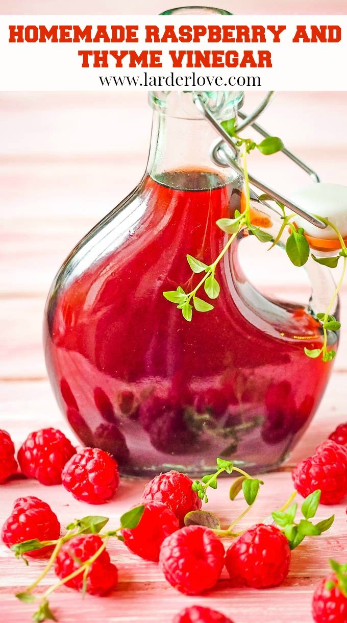 super easy raspberry and thyme vinegar. This infused fruit vinegar is esy to make and perfect on summer salads and fruit salads too. It's great as a summer drink too. #raspberry vinegar #infused vinegar #fruit vinegar