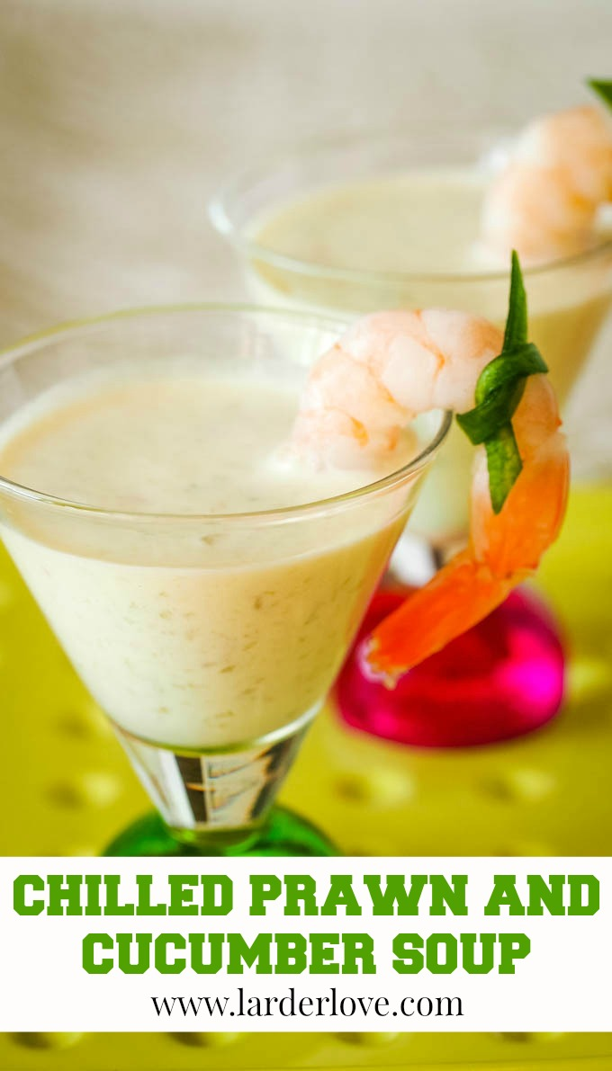 chilled prawn and cucumber soup pin image