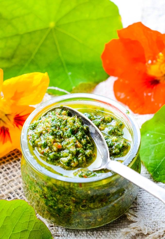 nasturtium pesto in jar with spoon on top