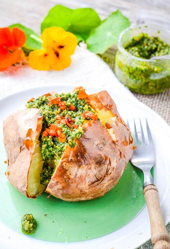 pesto inside baked potato