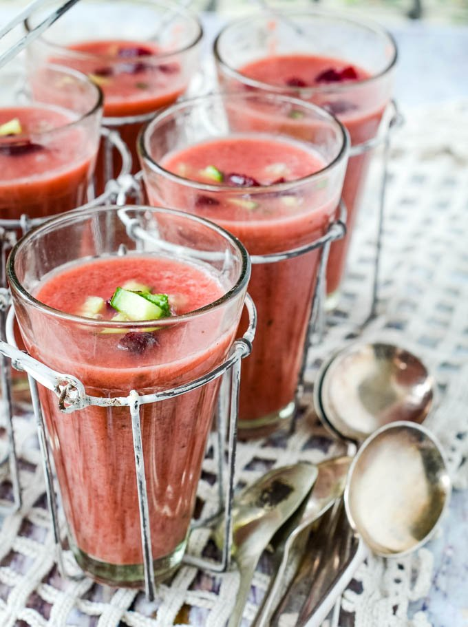side view of glasses of borscht