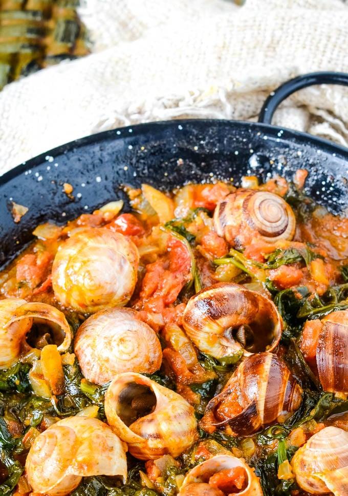 pan of snails