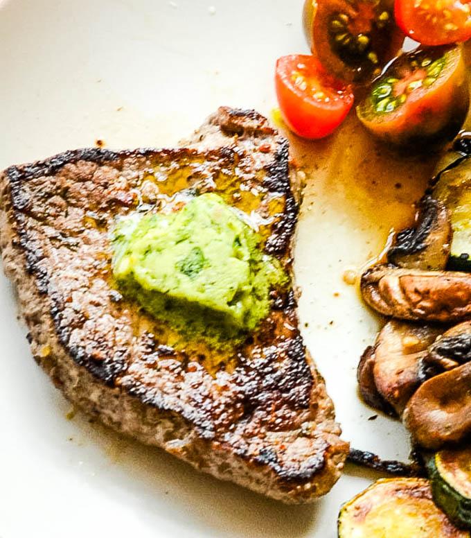 pesto butter on steak