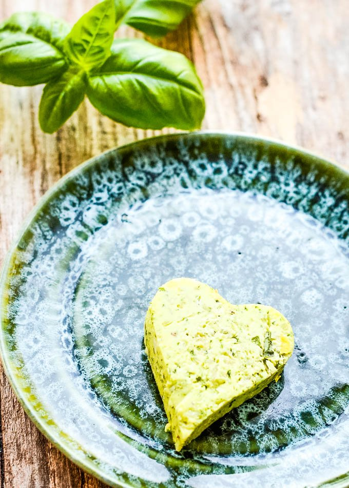close up of pesto butter heart