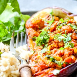Moroccan spiced stuffed aubergines