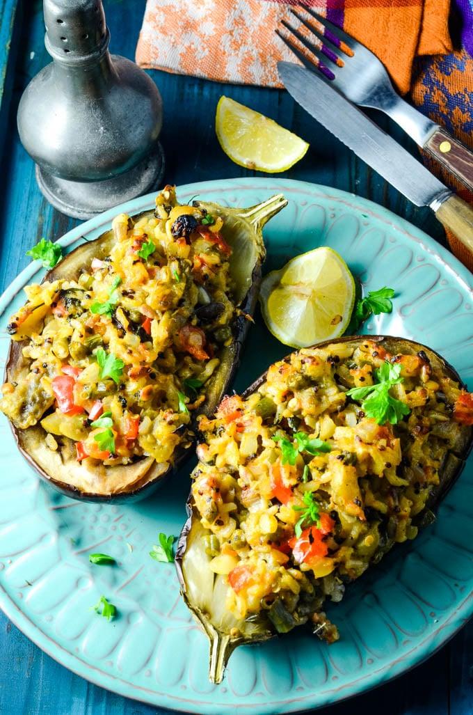 easy Greek vegetarian stuffed aubergine/eggplant
