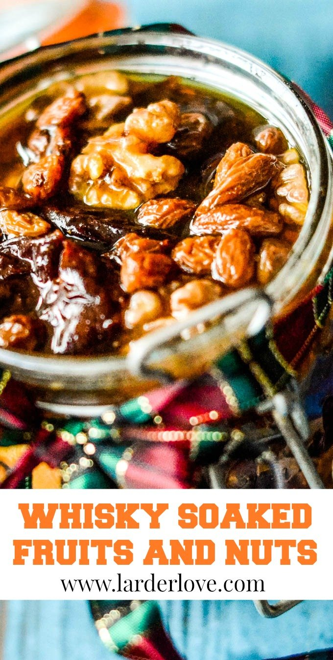 dried fruits and nuts preserved in whisky syrup pin image