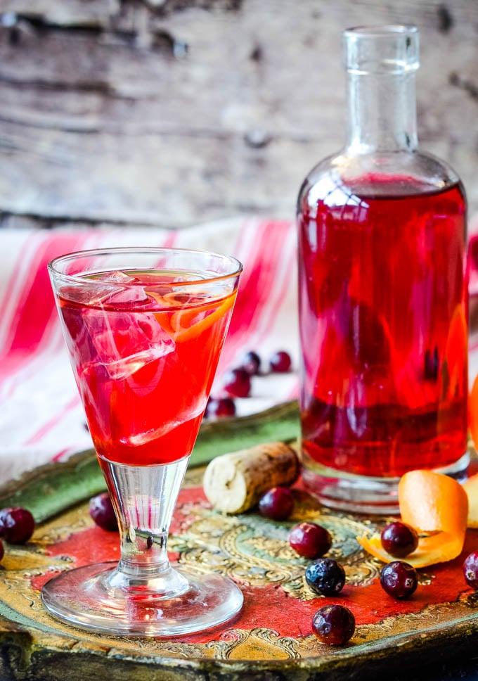 cranberry gin homemade liqueur