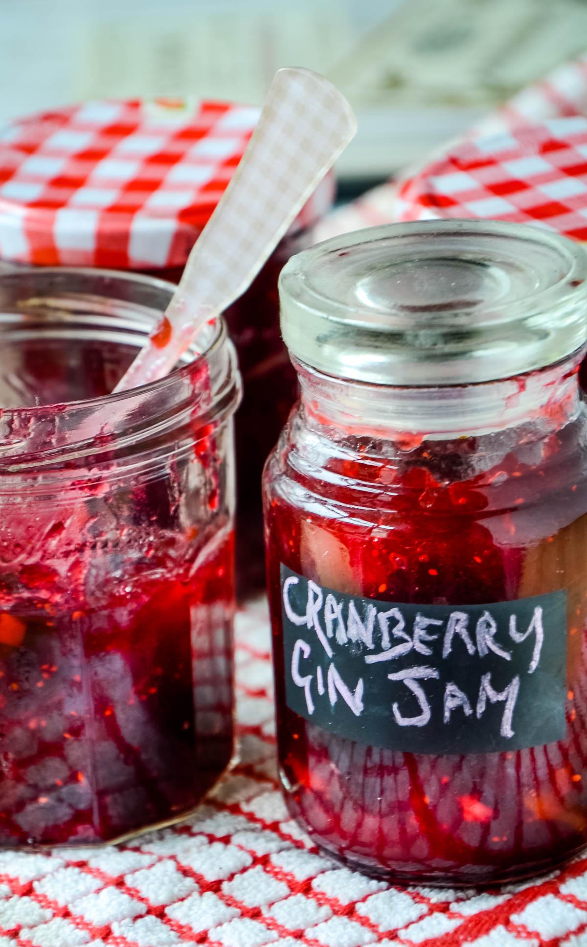 close up of jar of jam