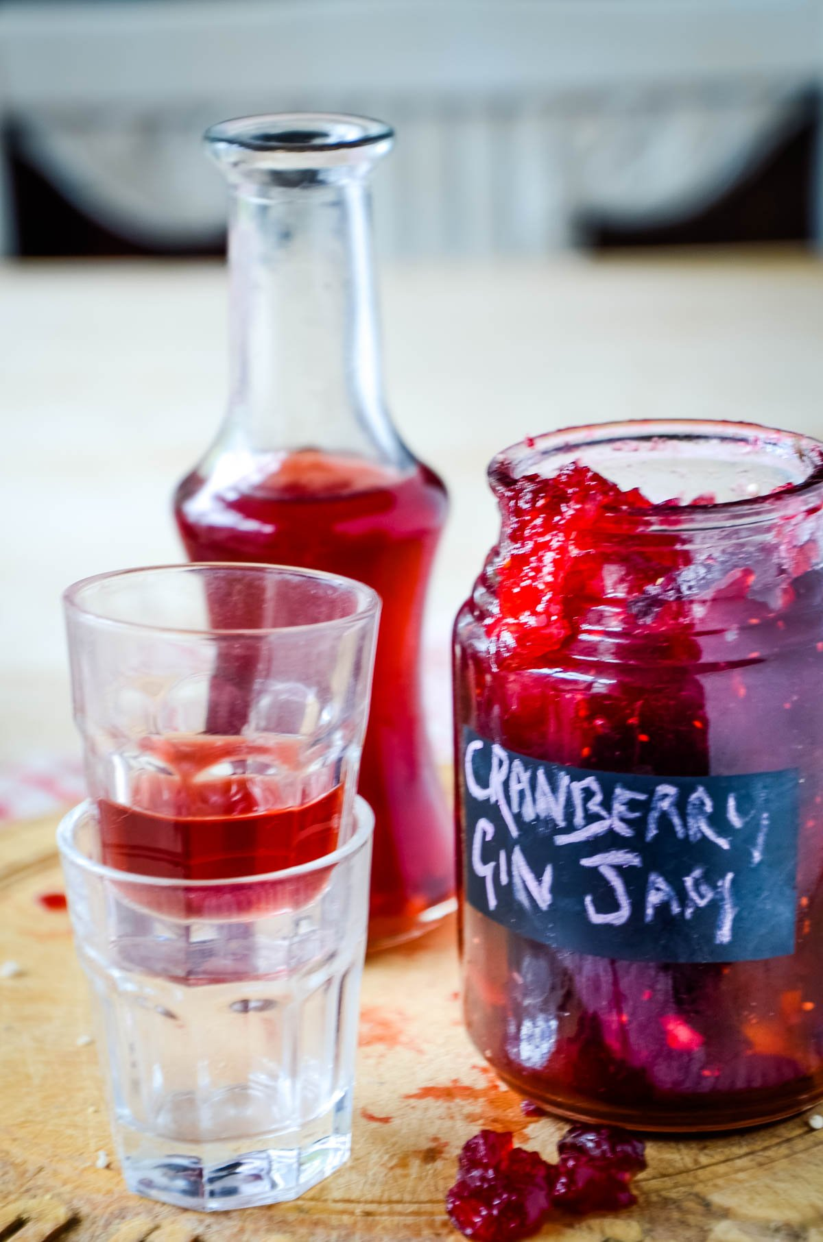 gin bottle and jar or jam