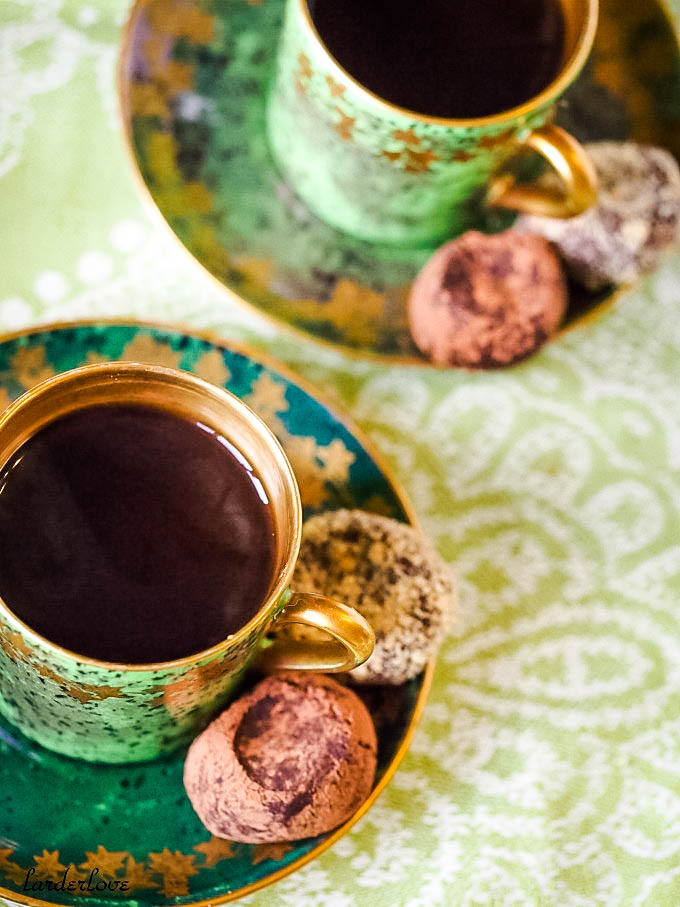 top down shot of coffee and truffles