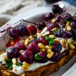 baked grape and whipped feta bruschetta by larderlove