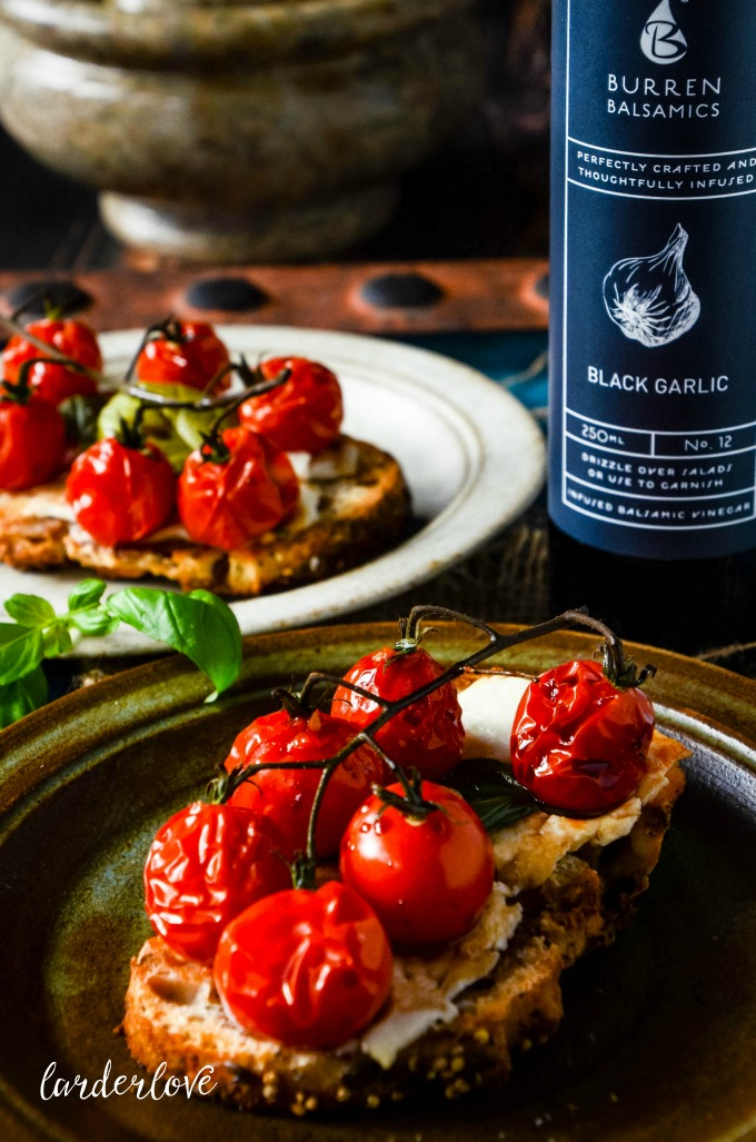 cherry tomato bruschetta with balsamic by larderlove