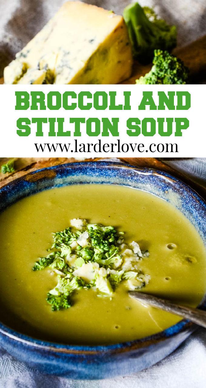 broccoli and stilton soup pin image