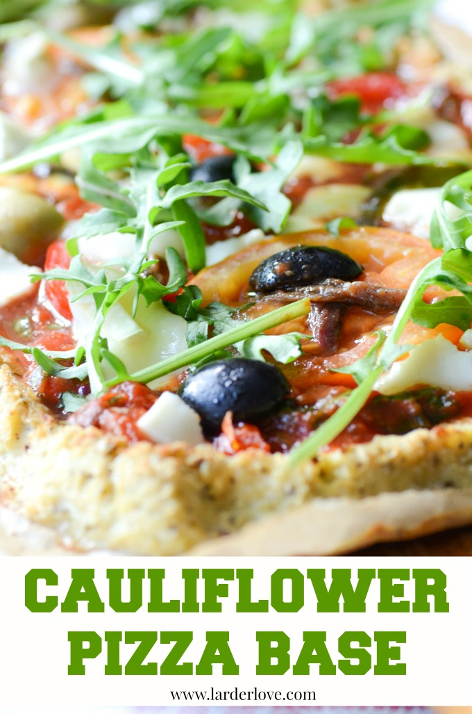 cauliflower pizza base by larderlove