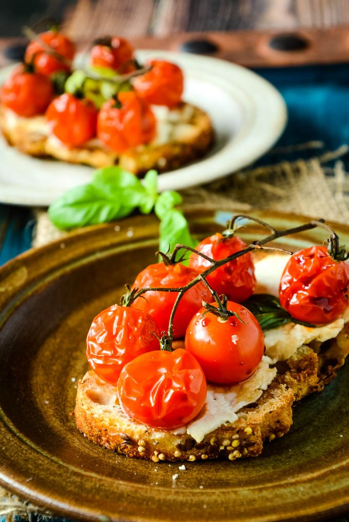 plate with tomato bruschetta