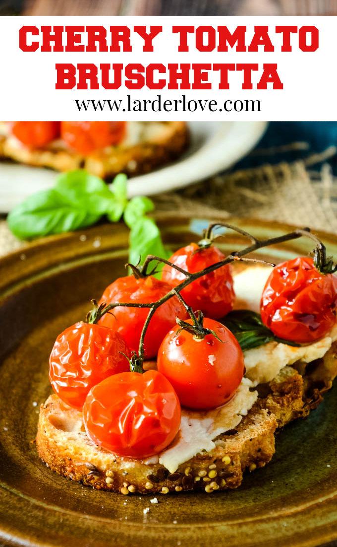 cherry tomato bruschetta pin image