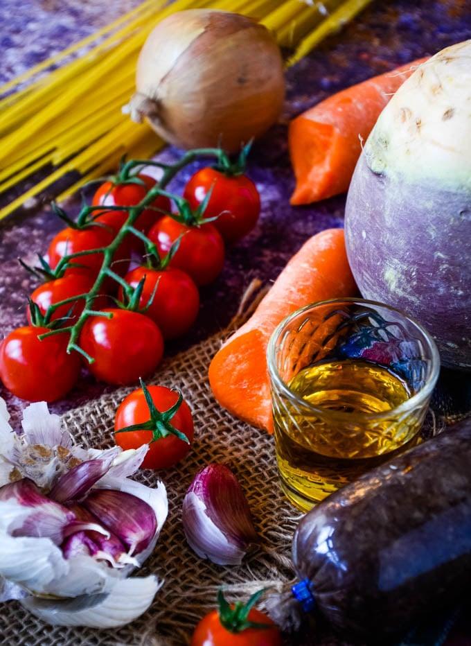 ingredients for haggis spaghetti