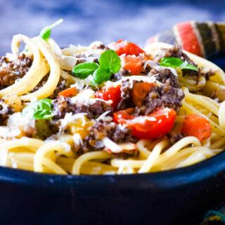 haggis spaghetti in bowl