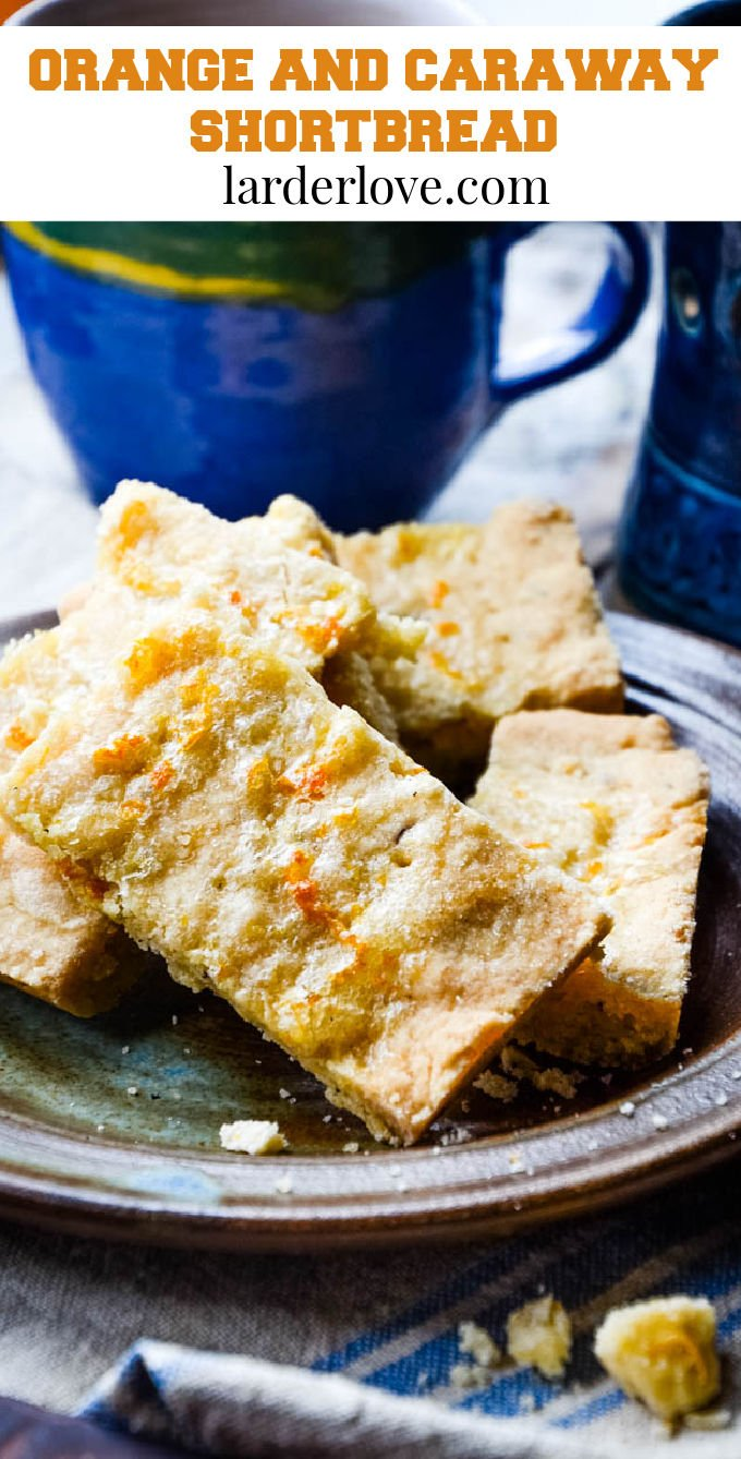 orange and caraway seed shortbread pin image