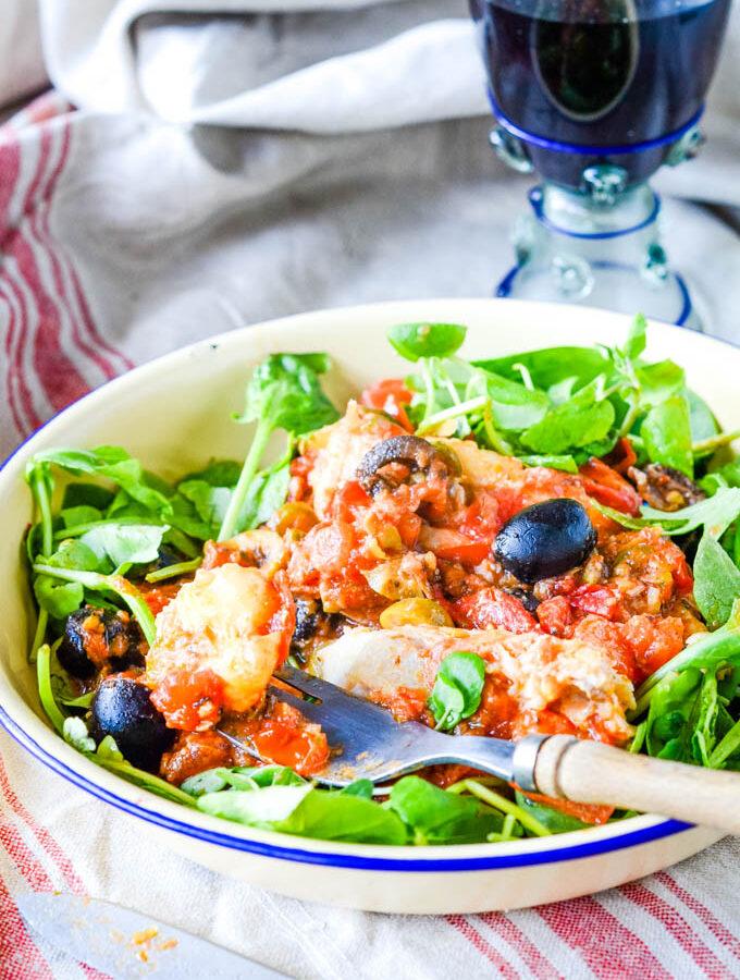Sicilian fish in tomato sauce