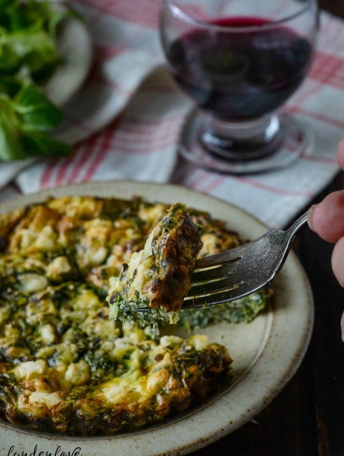 spinach mint and feta frittata by larderlove