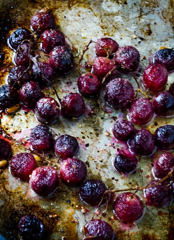 roasted grapes from the oven