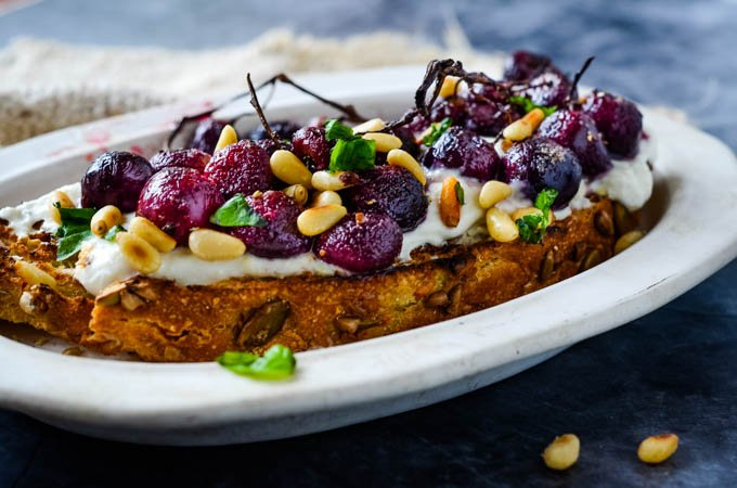 long shot of grapes on toast