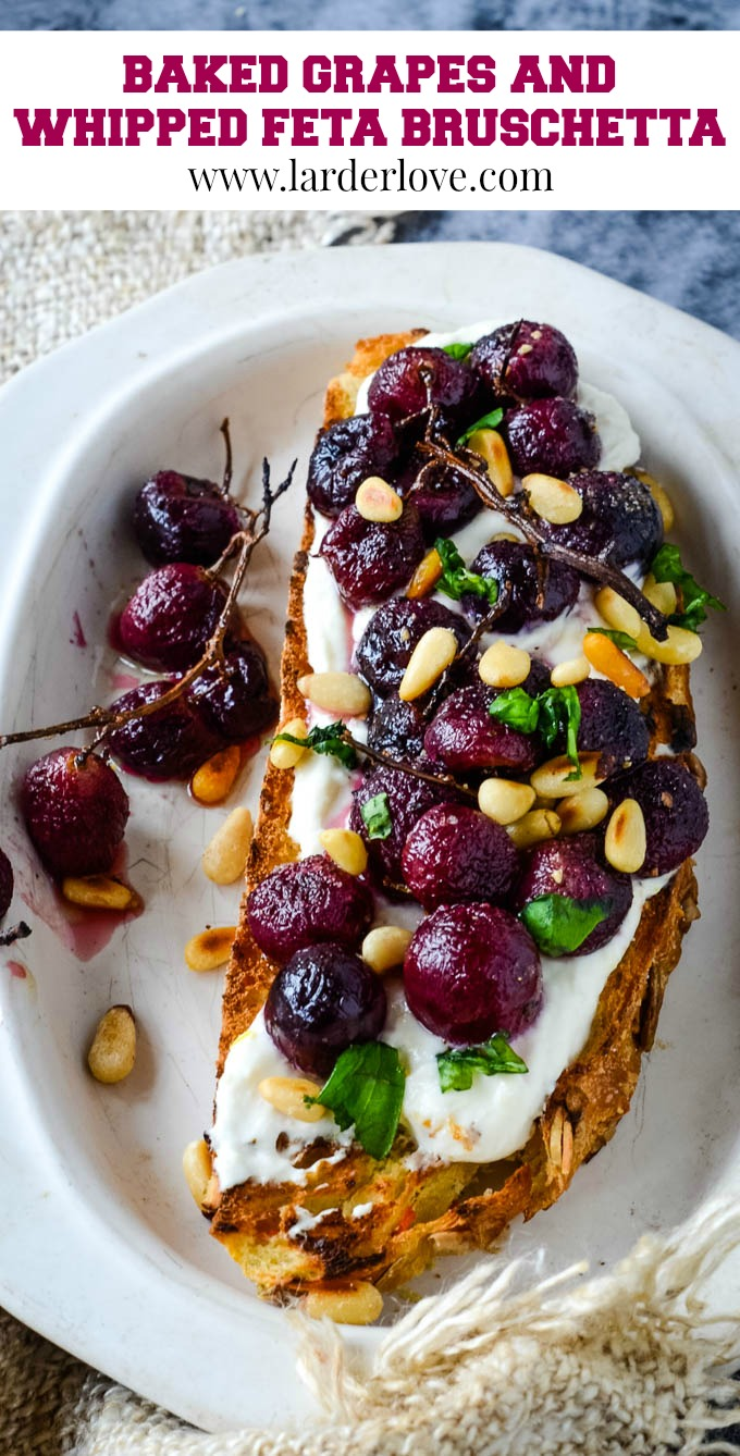 baked grapes and whipped feta bruschetta pin image