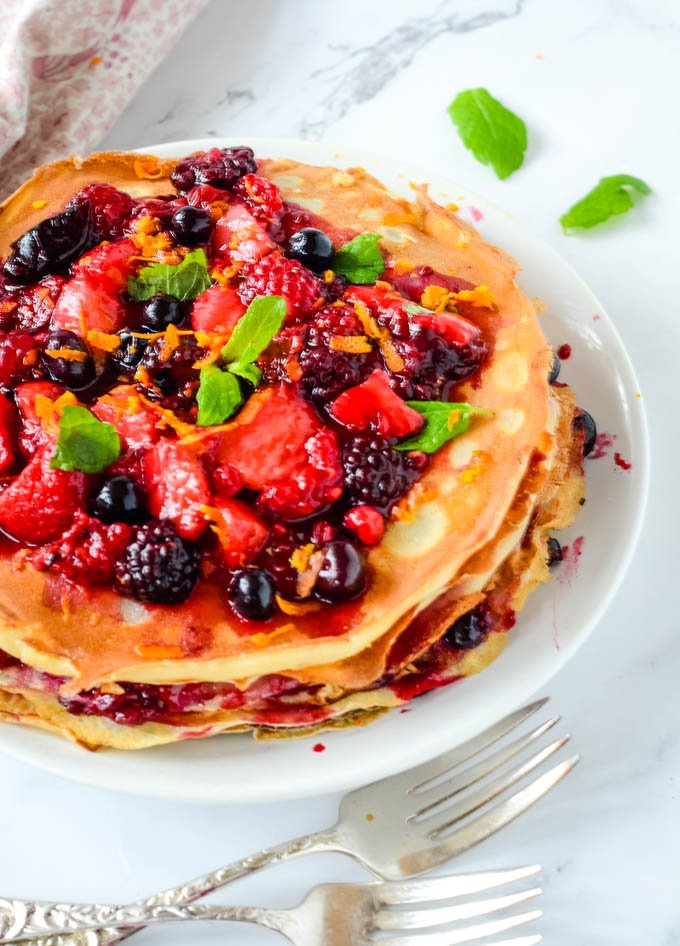 crepe stack pancake cake top down view