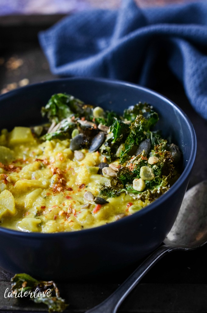curry spiced cauliflower potato and kale soup by larderlove