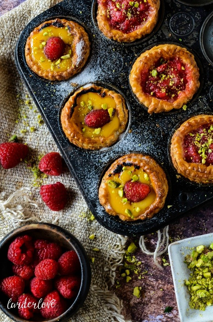 rhubarb and raspberry tarts by larderlove