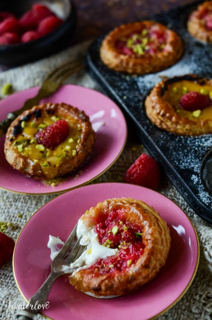 rhubarb and raspberry tarts by larderlove