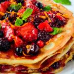 crepe stack pancake cake pin image