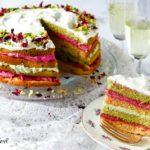 matcha and rose cake