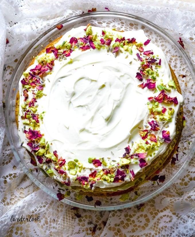 matcha and rose cake by larderlove