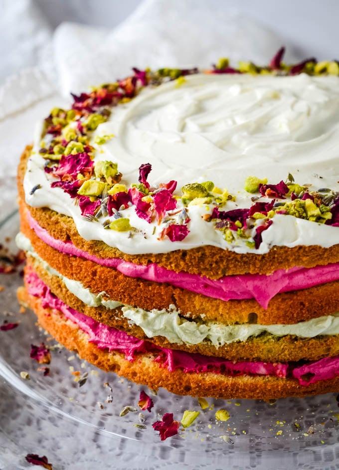 matcha rose cake side view