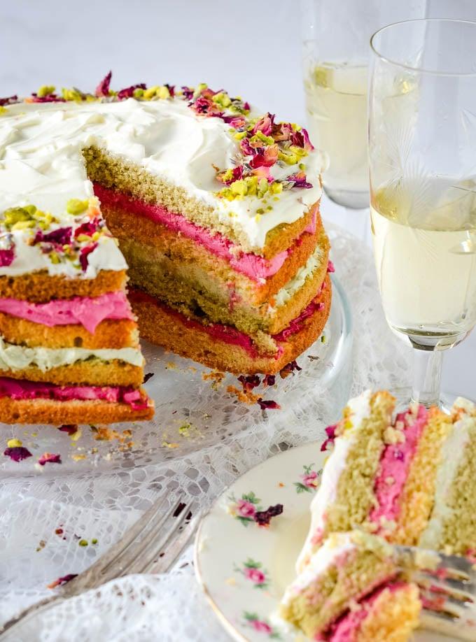 slice taken out of rose cake