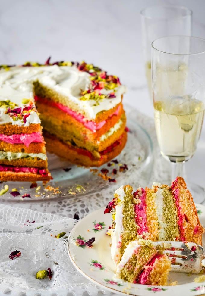 slice taken out of cake