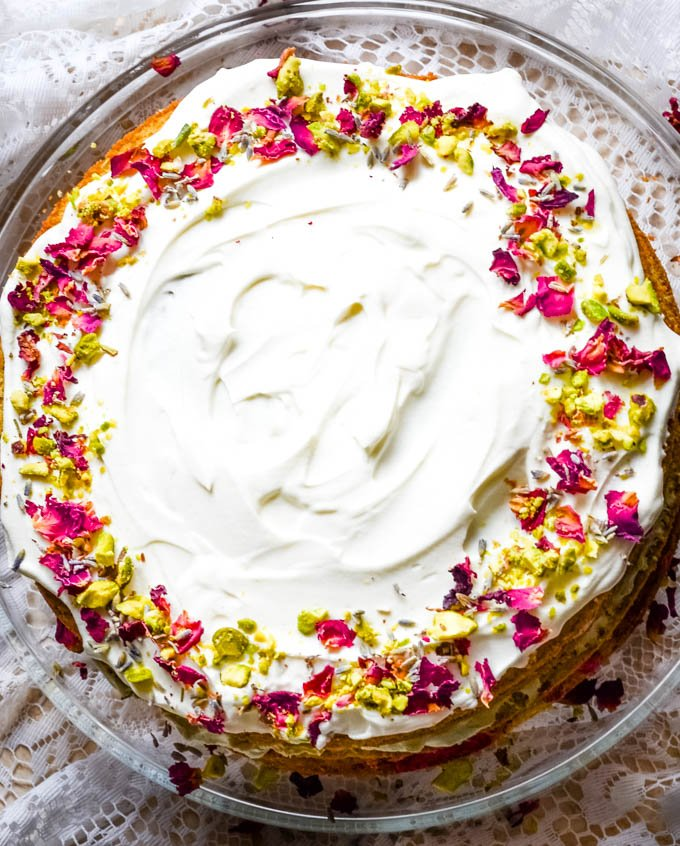 top down shot of cake showing flowers topping in ring