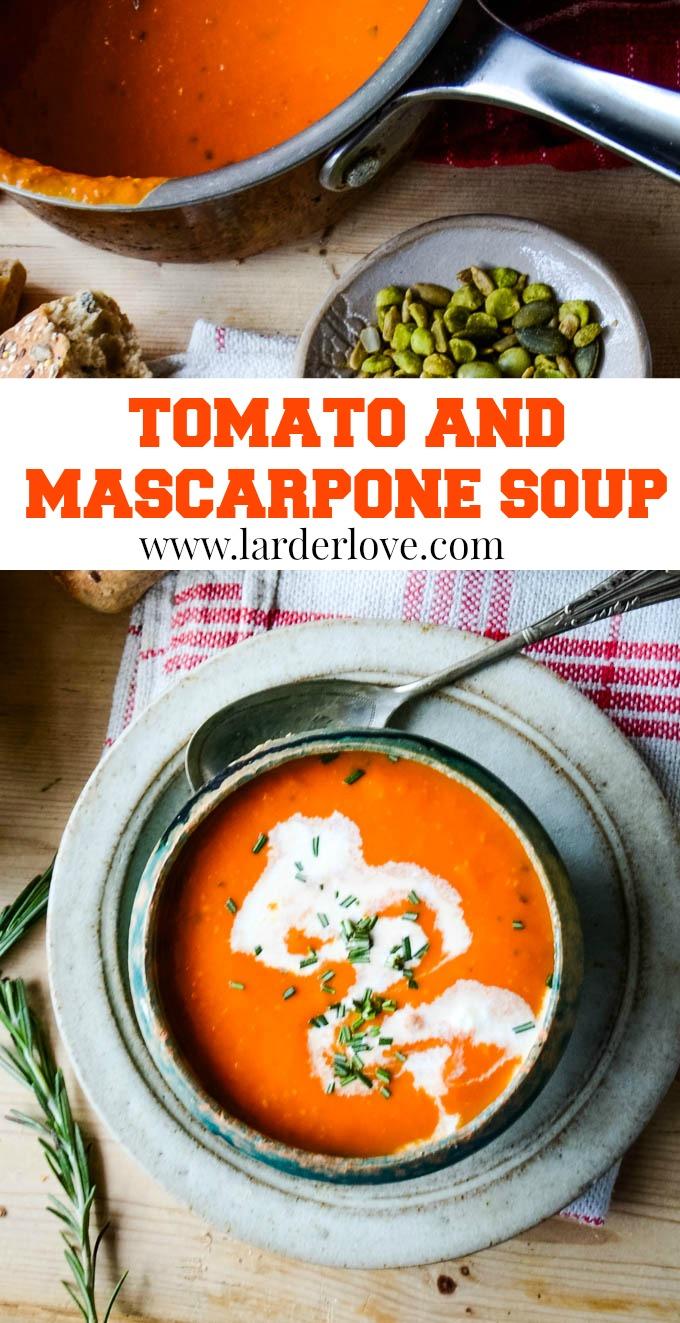 tomato and mascarpone soup pin image
