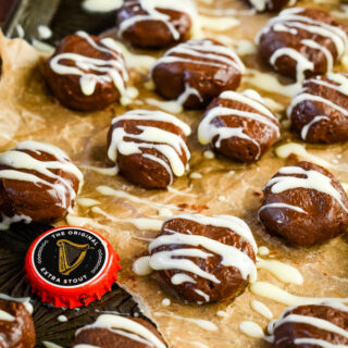 homemade guinness chocolate truffles on tray