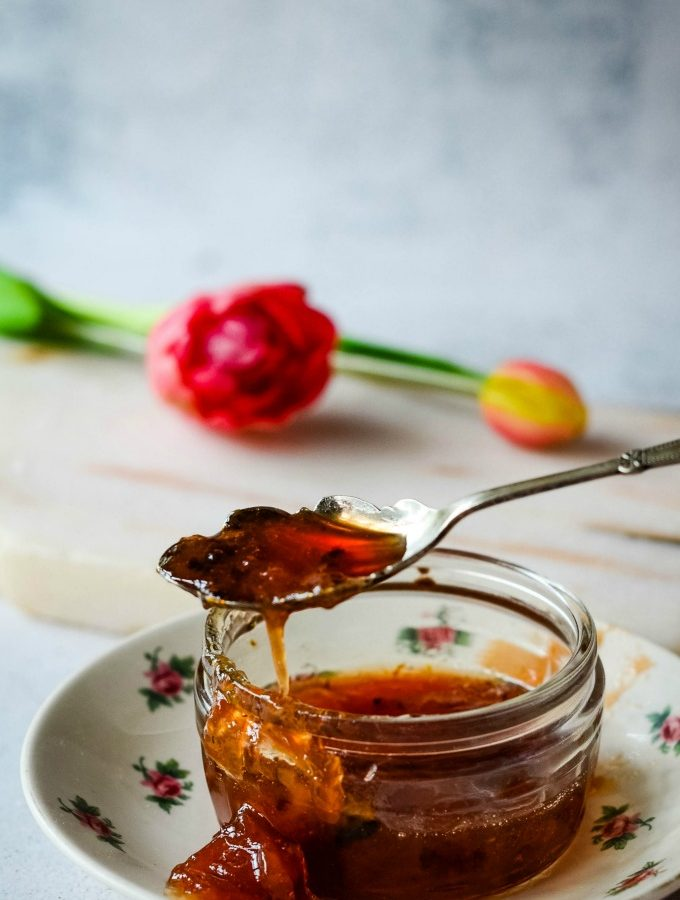 rhubarb and ginger gin jam by larderlove
