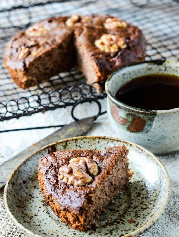 sugar free gluten free coffee and walnut cake by larderlove