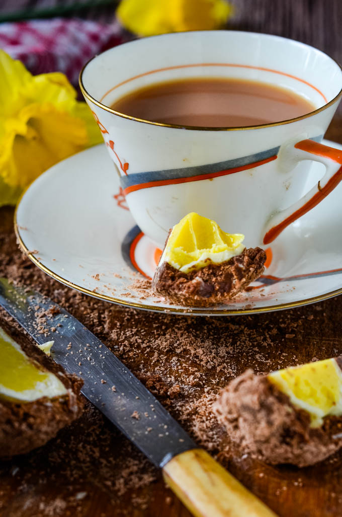piece of chocolate egg with tea cup