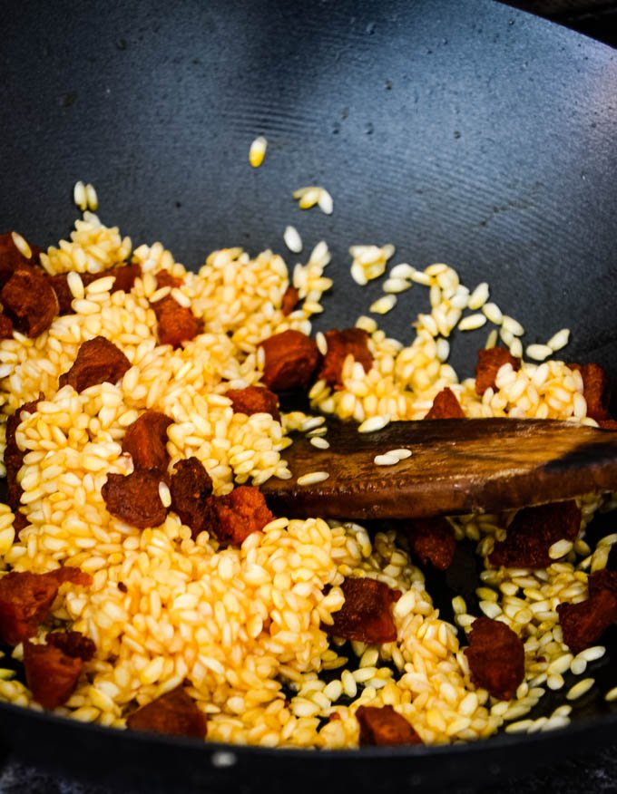 rice in pan with the chorizo