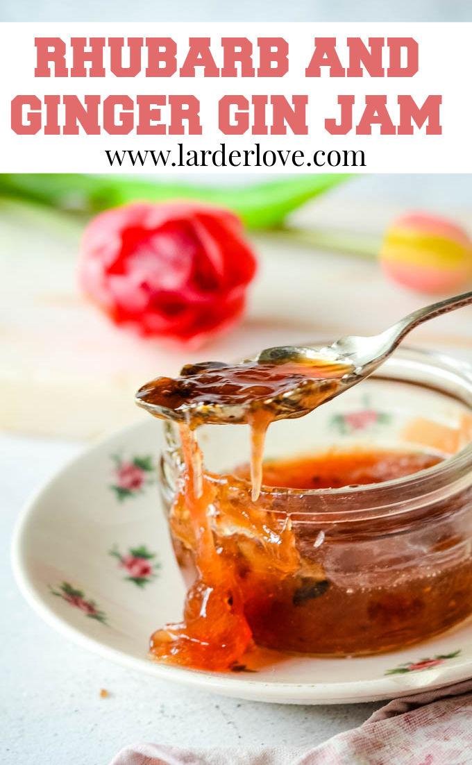 rhubarb and ginger gin jam pin image